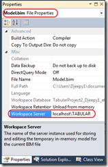 propriété workspace BISM tabulaire