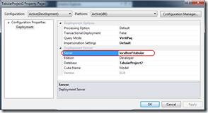 propriété serveur déploiement BISM tabulaire