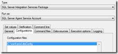 configuration dtsconfig ssis